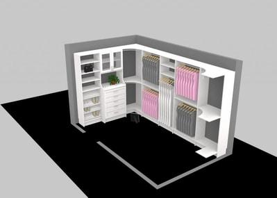Full 3D design of custom closet with contents