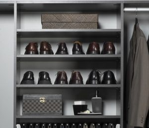 shoes displayed on shelves