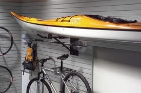 Garage Storage with a Kayak and bicycle