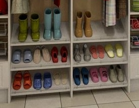 Shoe Organizer in a mudroom