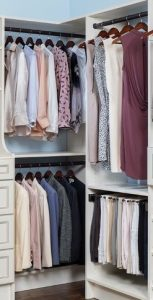Womens clothes in a clothes organizer